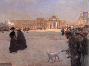 Giuseppe De Nittis - La place du Carrousel et  les ruines du palais des Tuileries, 1882